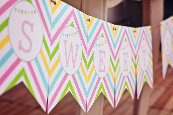 rainbow sweets birthday party bunting