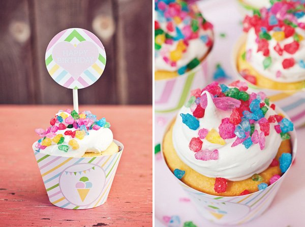 rainbow sweets birthday party pop rocks cupcake toppers