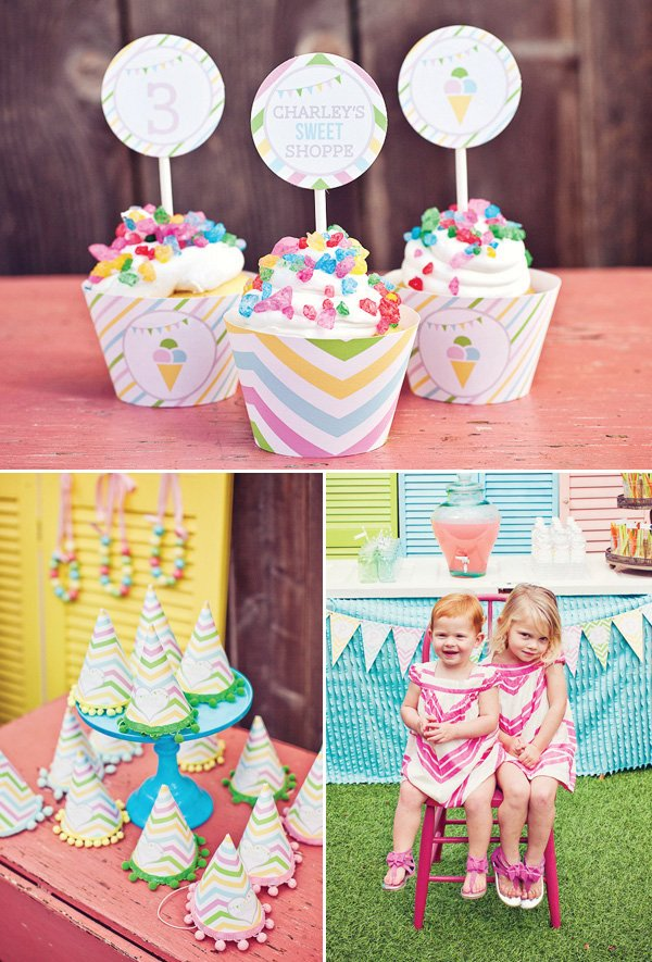 rainbow sweets birthday party cupcakes and hats