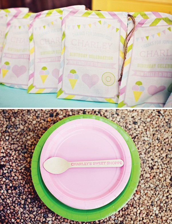 rainbow sweets birthday party custom spoons and bags