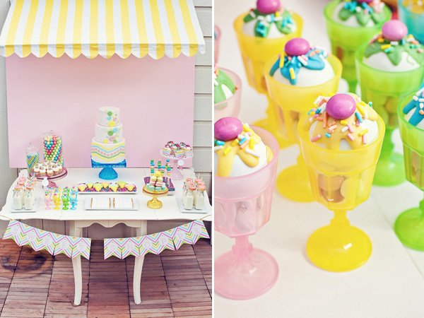 rainbow sweets birthday party dessert table and sundaes