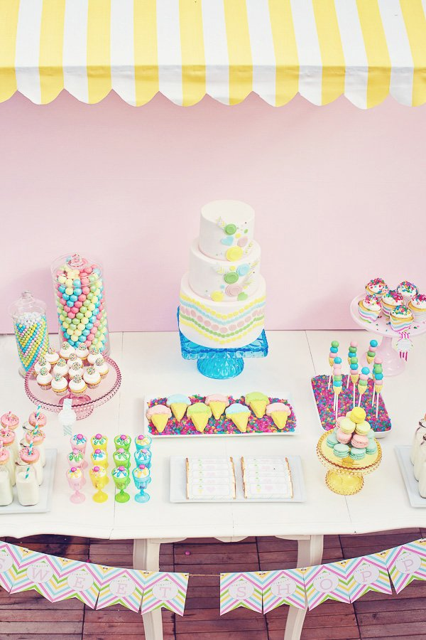 rainbow sweets birthday party dessert table