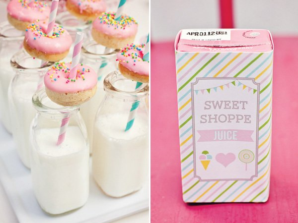 rainbow sweets birthday party milk and juice box labels
