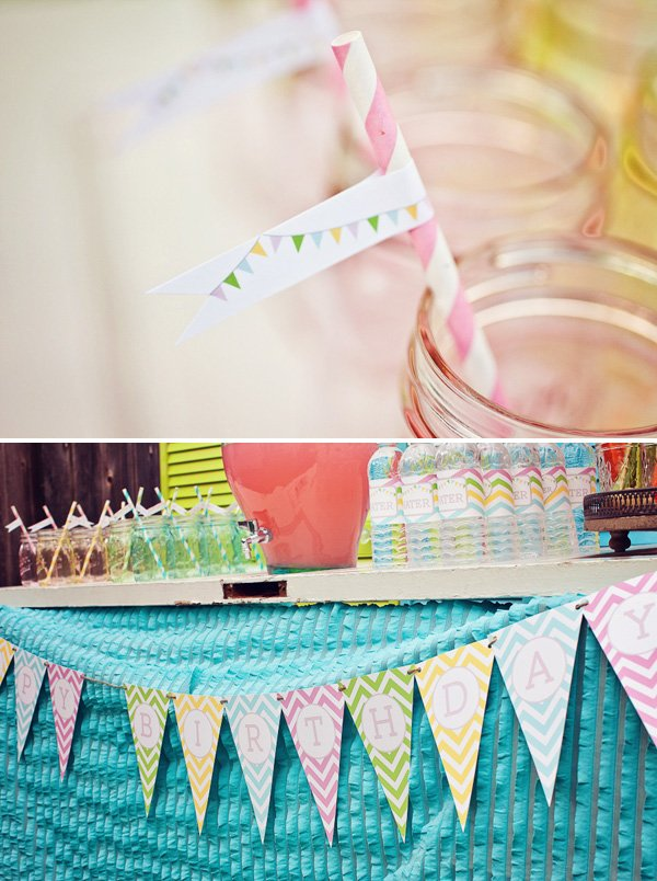 rainbow sweets birthday party table bunting and straws