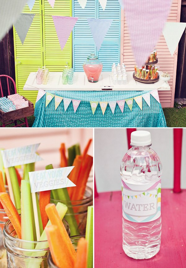 rainbow sweets birthday party drinks table with vegetables
