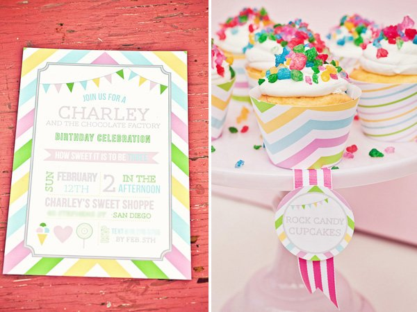 rainbow sweets birthday party invitation