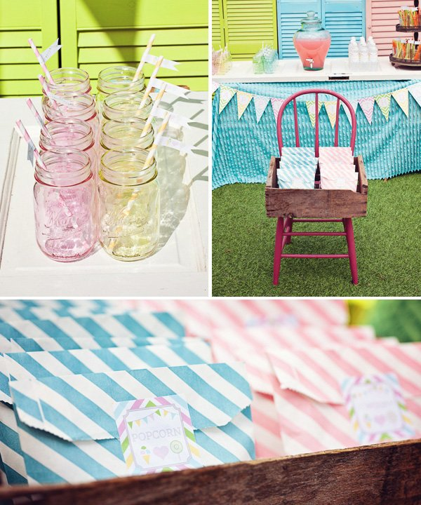 rainbow sweets birthday party mason jar drinks