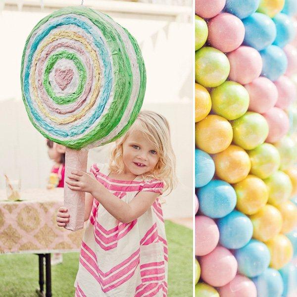 rainbow sweets birthday party pinata and sixlets