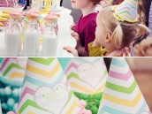 rainbow sweets birthday party zig zag hats