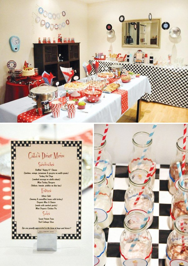 retro diner birthday party menu and food buffet