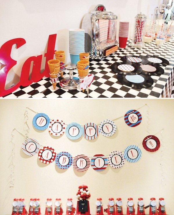 retro diner birthday party decorations and gumball machine party favors