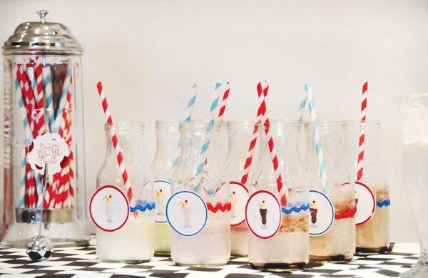retro soda shoppe milk bottles with stripey straws
