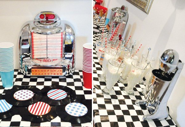 retro diner birthday party milkshakes, jukebox, and vinyl record coasters