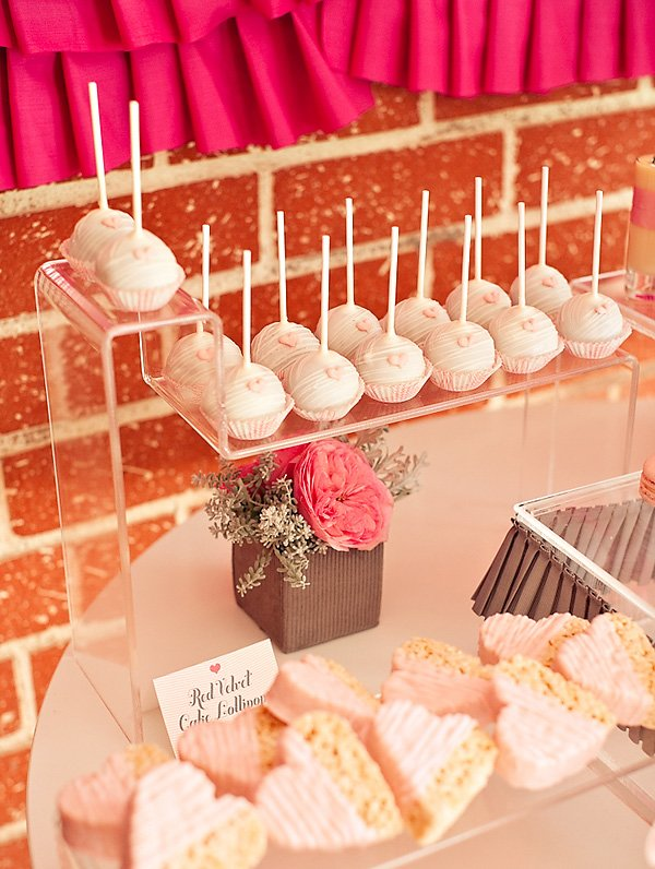 ribbons and ruffles baby shower cake pops