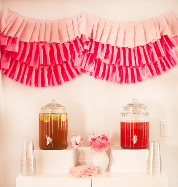 ribbons and ruffles baby shower drink station
