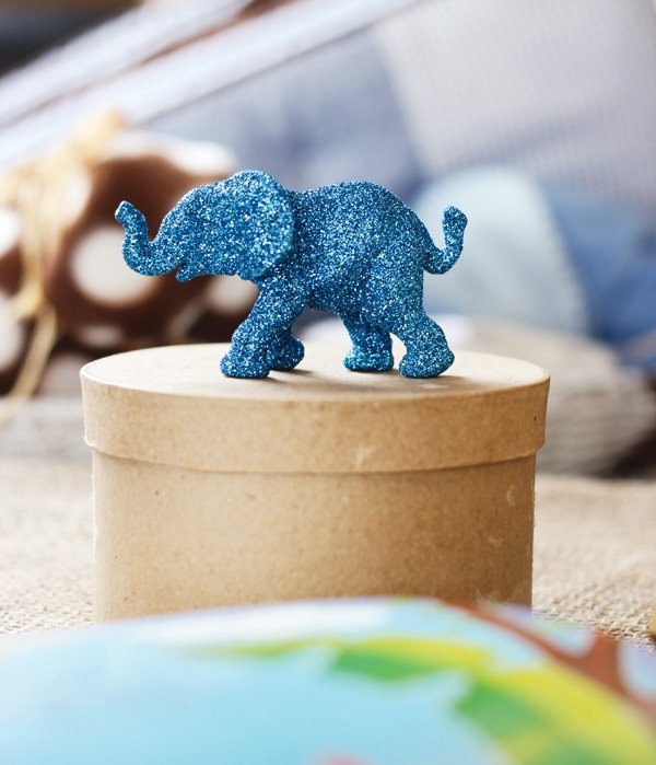 safari baby shower with a glitter blue elephant