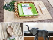 safari baby shower place setting and utensils