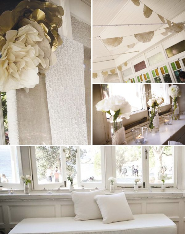 simple white wedding doily decorations