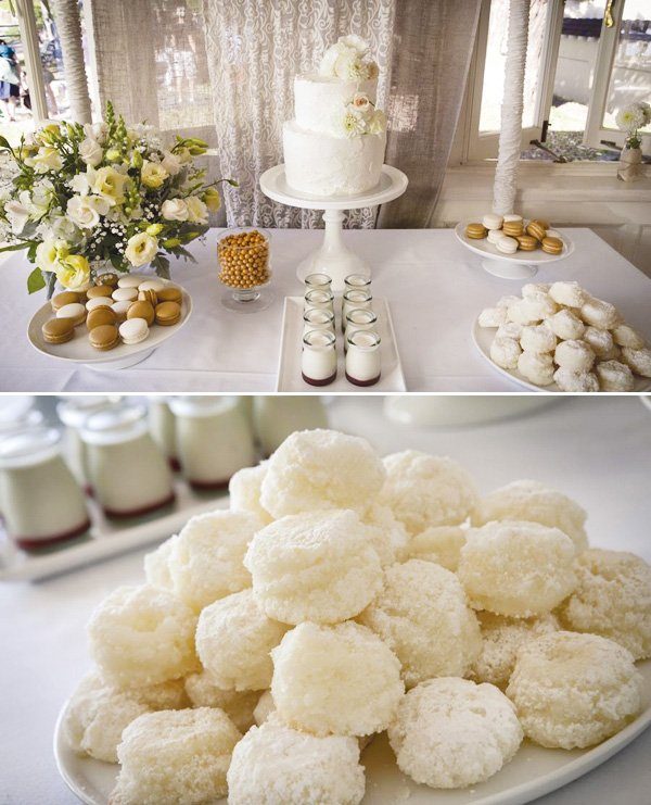 simple white wedding dessert table and cookies