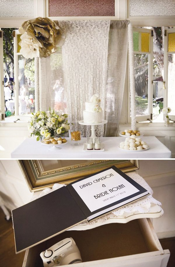 simple white wedding dessert table and guest book