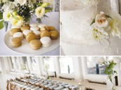 simple white wedding macaroons and white cake