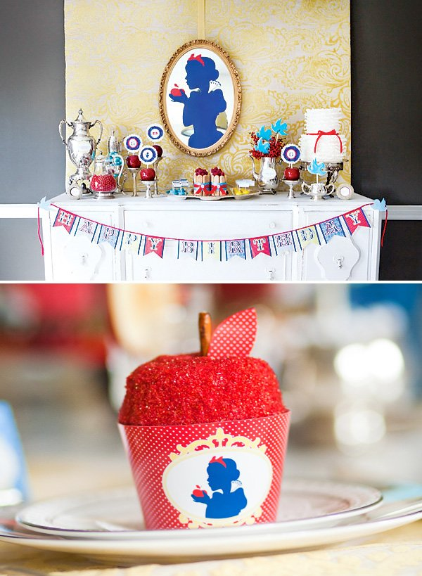 snow white party dessert table and apple cupcakes