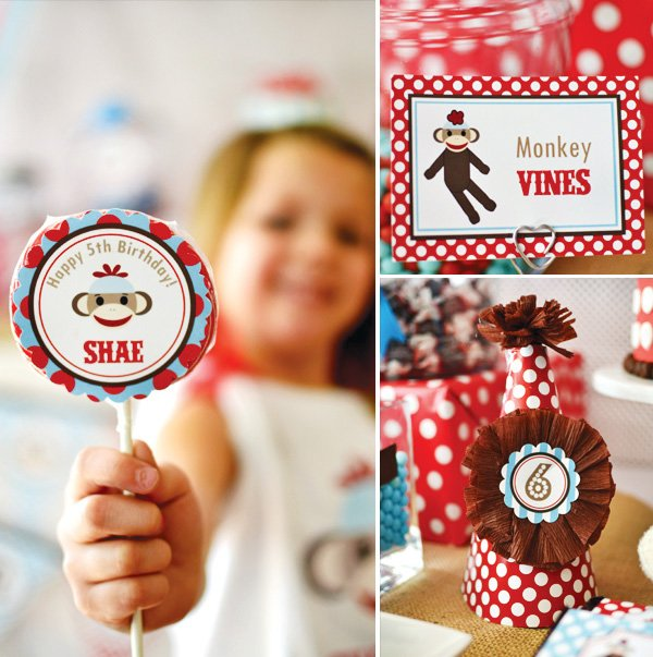 sock monkey birthday party hat and lollipops