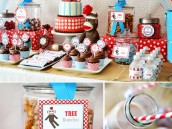 sock monkey birthday party dessert table