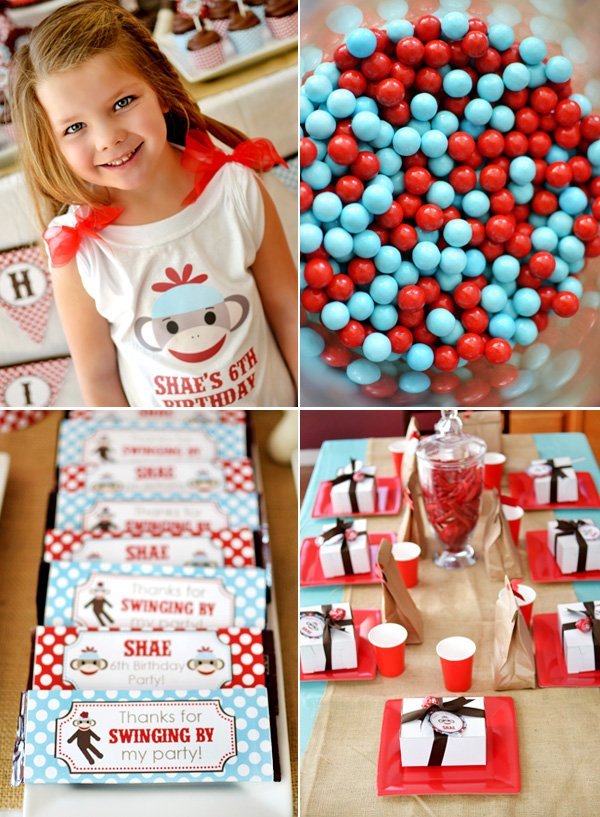 sock monkey birthday party table setting and candy