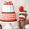 sock monkey birthday party cake