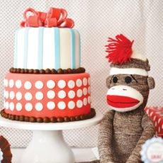 sock monkey birthday party cake