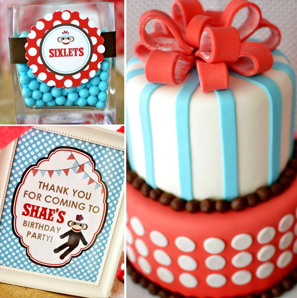 sock monkey birthday party cake and sixlets