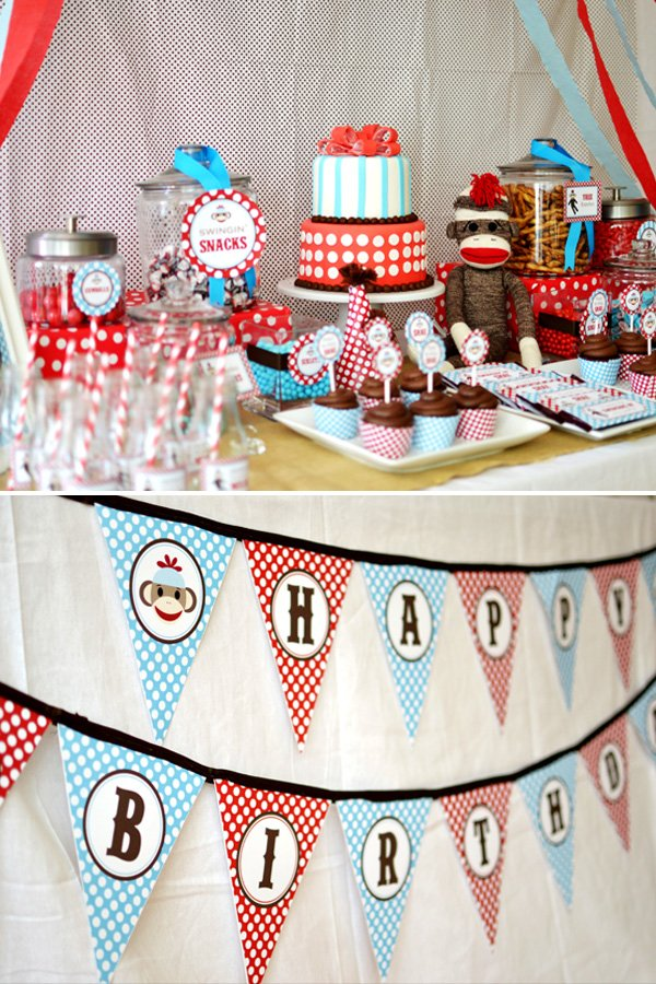 sock monkey birthday party dessert table and garland
