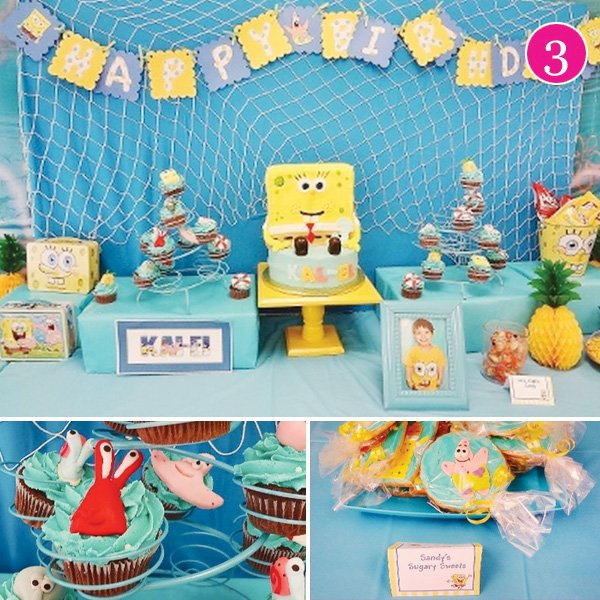 sponge bob birthday party with dessert table full of cupcakes and cookies