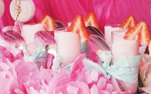 mini pink strawberry parfaits - princess party dessert