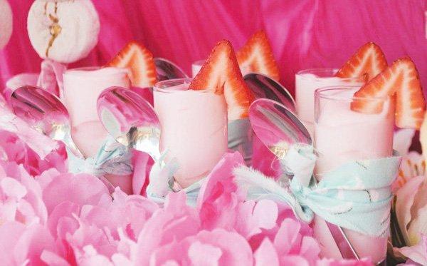 mini pink strawberry parfaits - princess party dessert