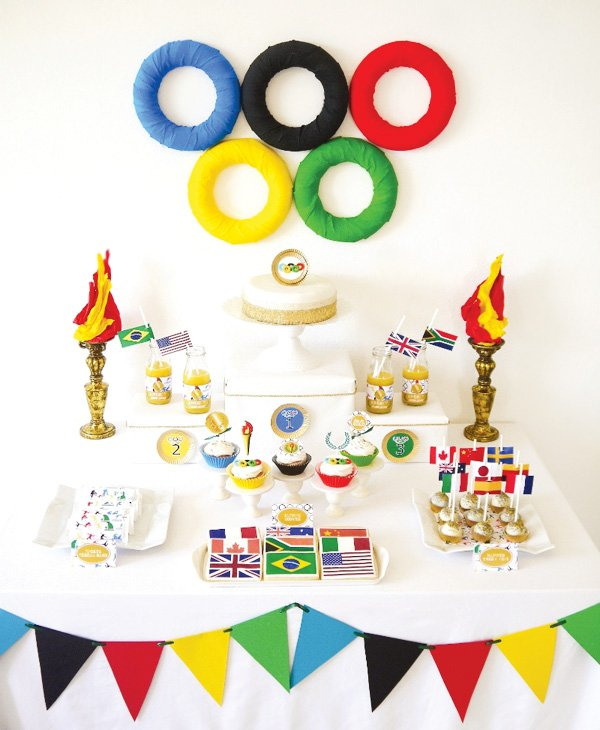 summer olympics party theme dessert table