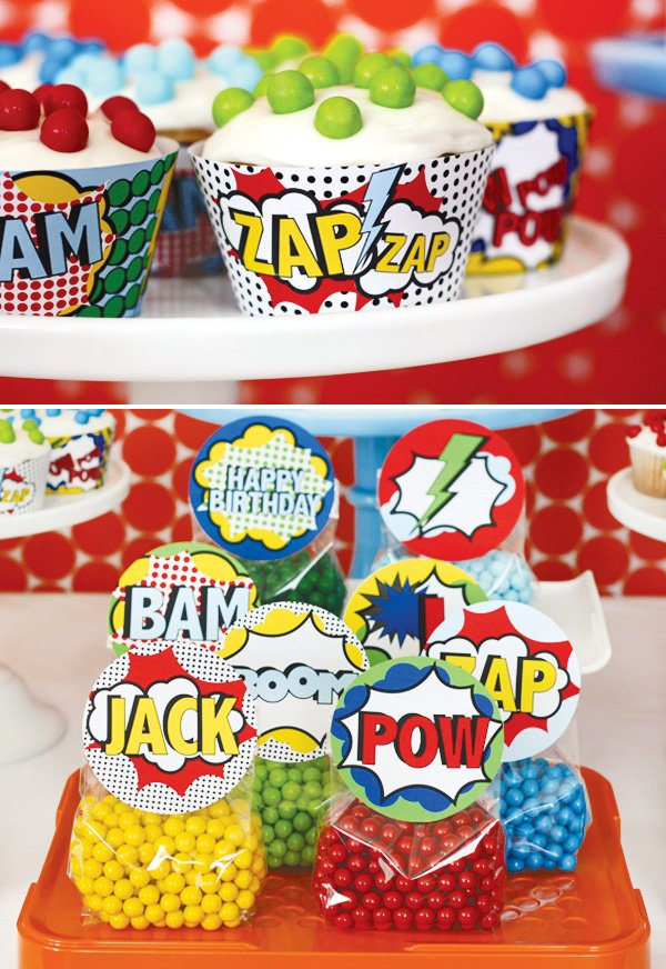 superhero vintage party cupcake liners