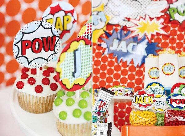 superhero vintage party cupcake toppers