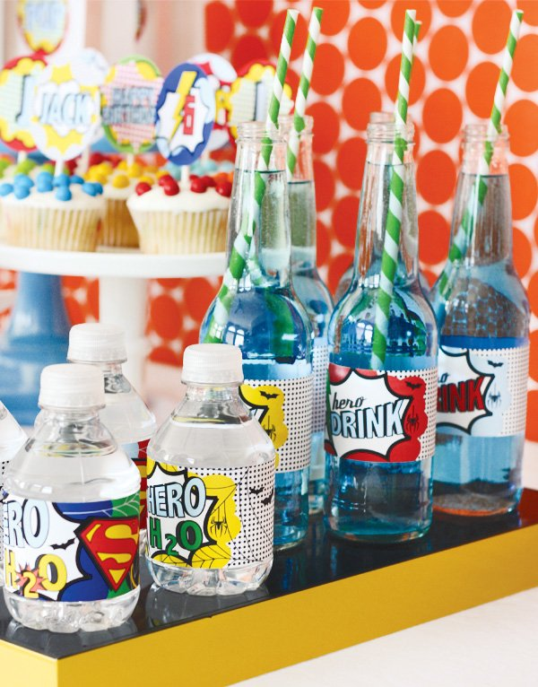 superhero vintage party with bright drinks and green straws