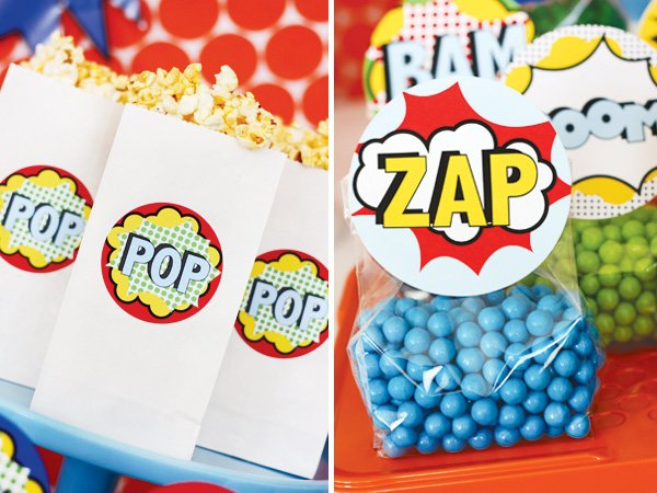 superhero vintage party with popcorn bags