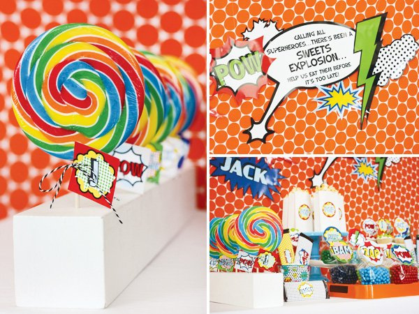 superhero vintage party with rainbow lollipops