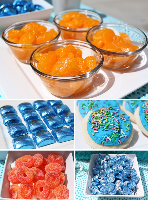 budget chic sweets bar using mandarin oranges