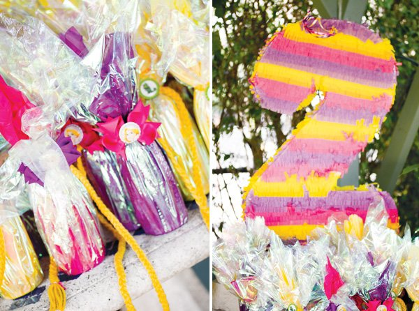 tangled birthday party favors with braids and birthday pinata