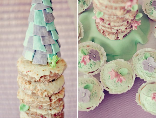 tangled donut tower and princess flower cupcakes