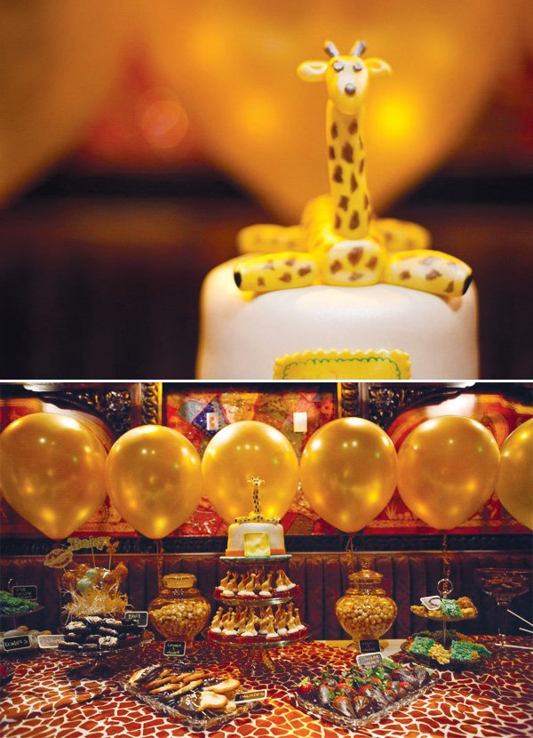 eclectic teacup baby shower gold balloons