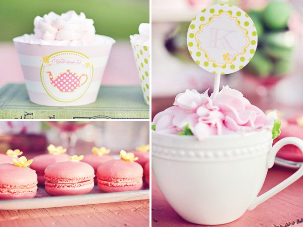 tea party cupcakes and macaroons