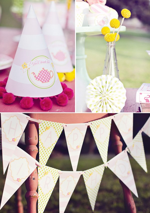 tea party hats and bunting