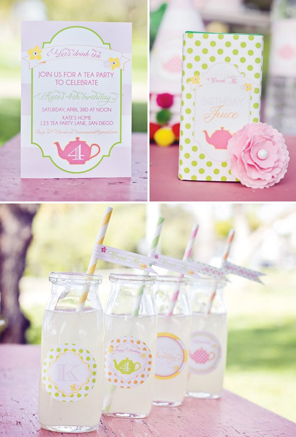 tea party invitation and drinks
