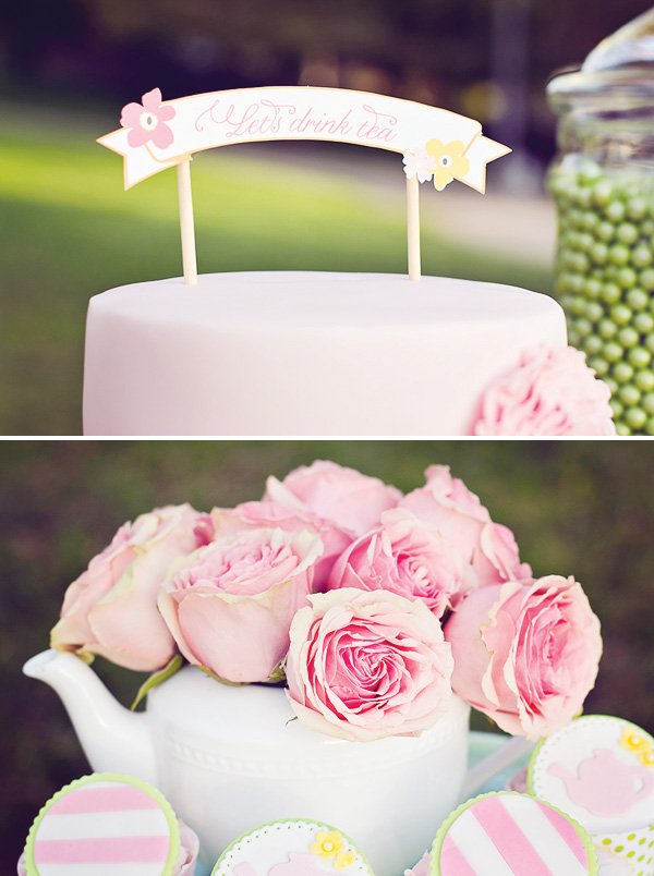 tea party pink cake and flowers